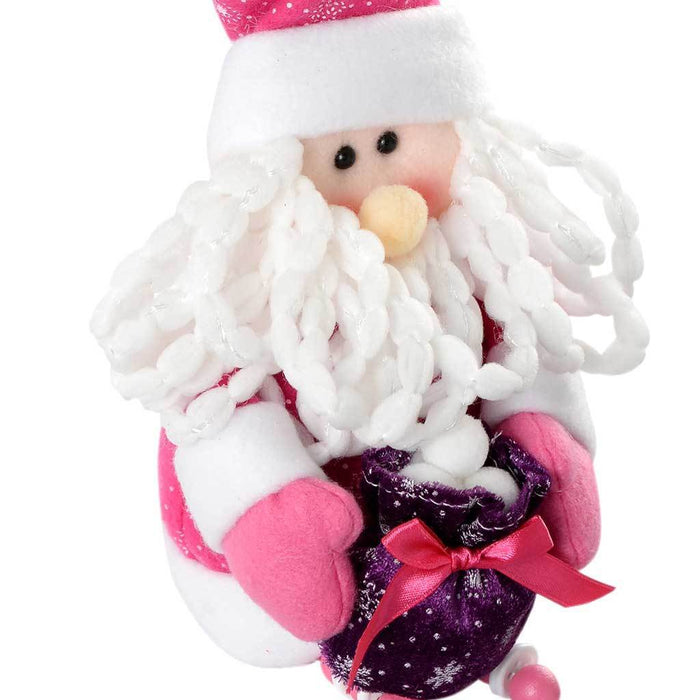 30 cm Novelty Sitting Santa Christmas Decoration, Hot Pink/ Purple