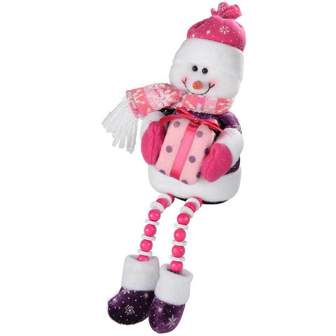 Sitting Snowman Christmas Decoration, 30 cm - Hot Pink/Purple
