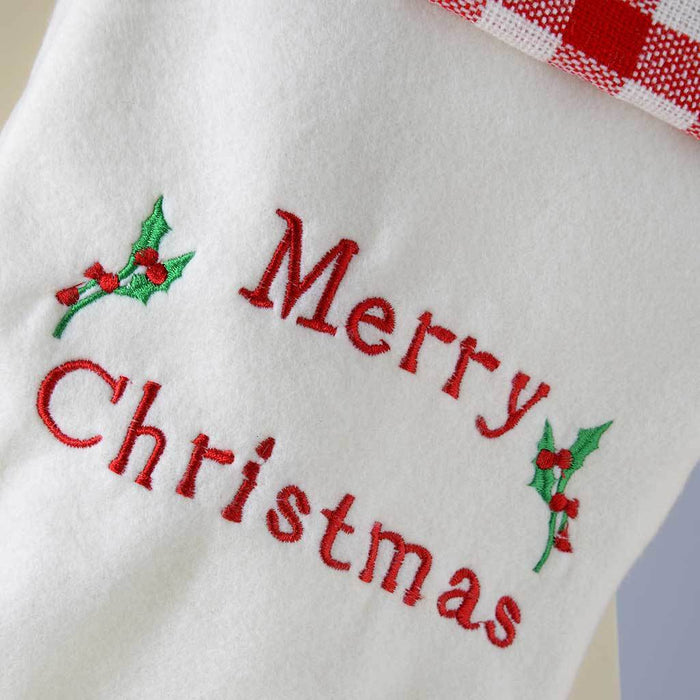 48 cm Stocking with Merry Christmas Embroidery Finished Decoration, Red/ White