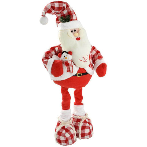 35 - 60 cm Standing Christmas Santa with Extendable Legs in Tartan, Red/ White