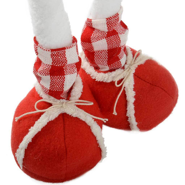 35 - 60 cm Standing Snowman Floor Decoration with Extendable Legs, Red/ White Tartan