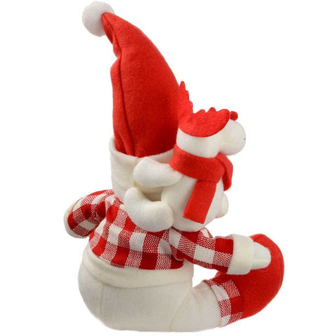 30 cm Sitting Father Christmas Santa Claus with Little Reindeer Table Decoration, Red/ White Tartan