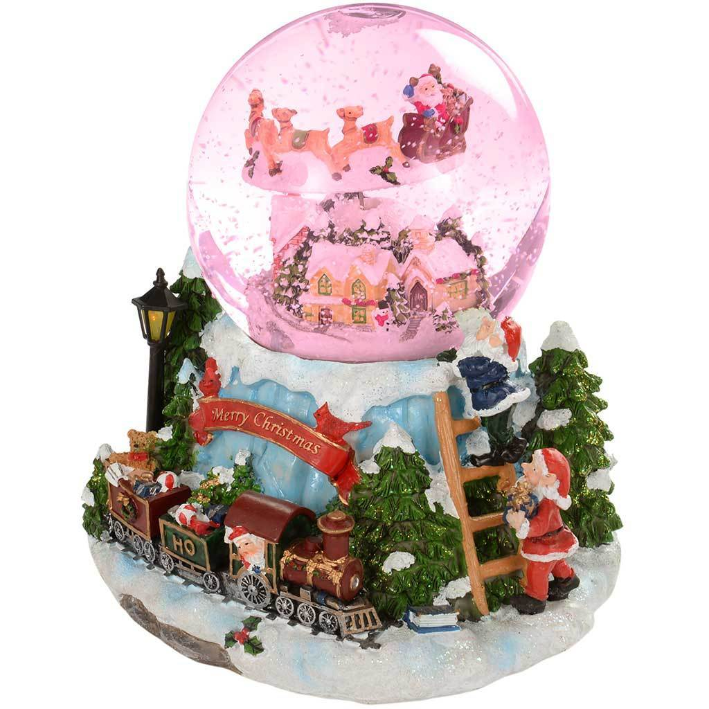 20 Cm Village And Train Scene Musical Animated Snow Globe