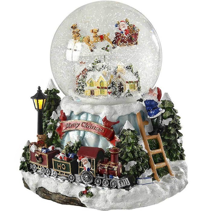 20 cm Village and Train Scene Musical Animated Snow Globe Christmas Decoration with Revolving Santa