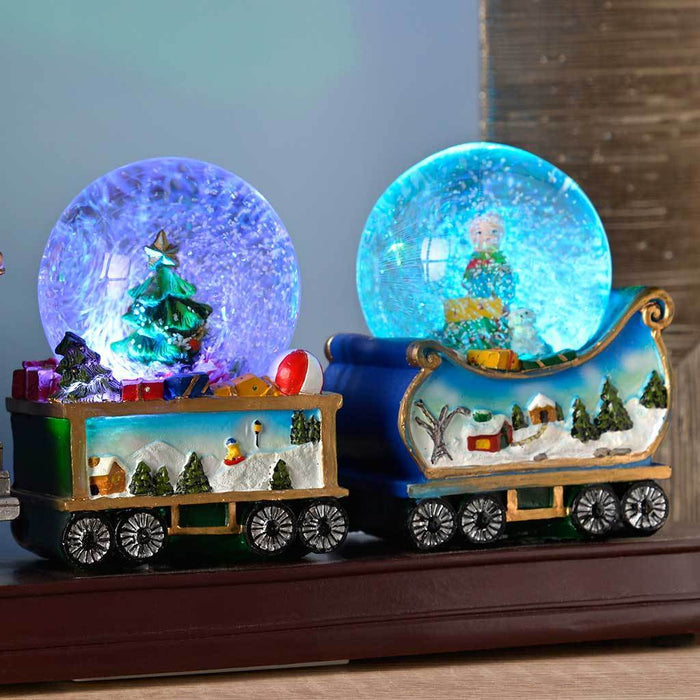 34 cm christmas train with 3 musical animated snow globe decoration