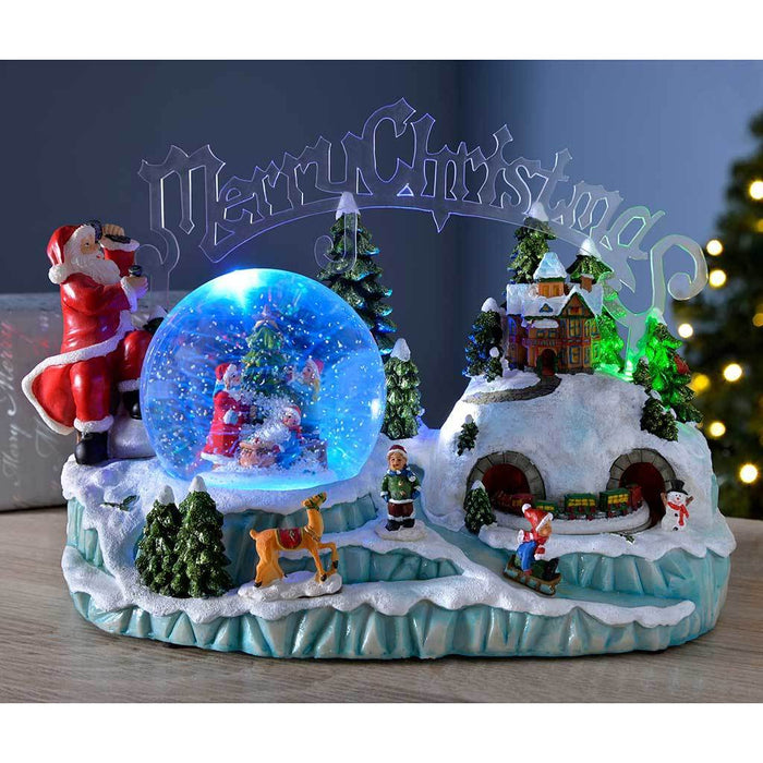 30 cm Pre-Lit Scene Musical Animated Snow Globe with Moving Train Christmas Decoration