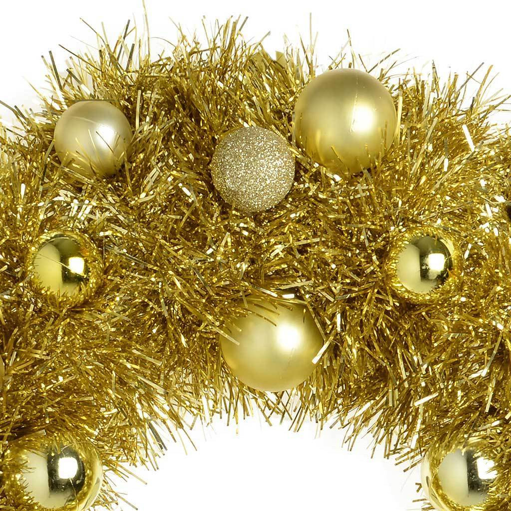36 cm Pre-Lit Tinsel Wreath with Baubles 20-LED Lights Christmas Decoration, Gold
