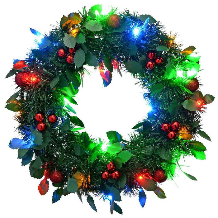 46 cm Pre-Lit Tinsel Wreath with Berries 20-LED Lights Holly Leaf Christmas Decoration