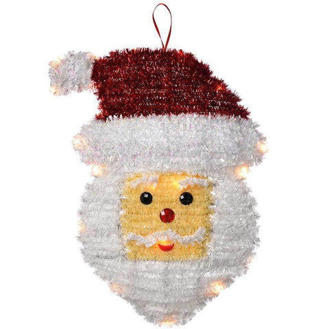 Pre-Lit Tinsel Santa Hanging Wall Decoration with 20 Warm White LED Lights, 48 cm