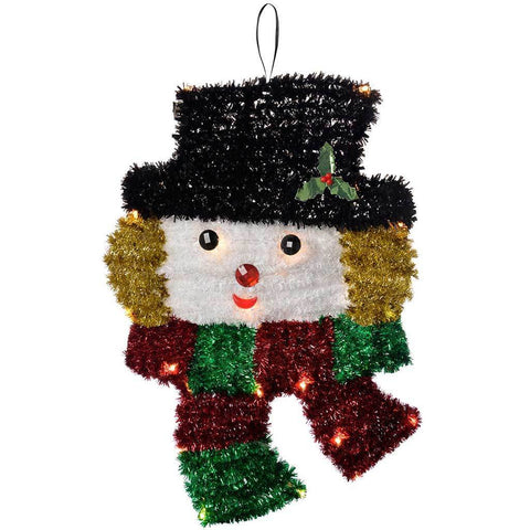 Pre Lit Hanging Tinsel Snowman with 20 Warm White LED Lights Christmas Decoration, 50 cm