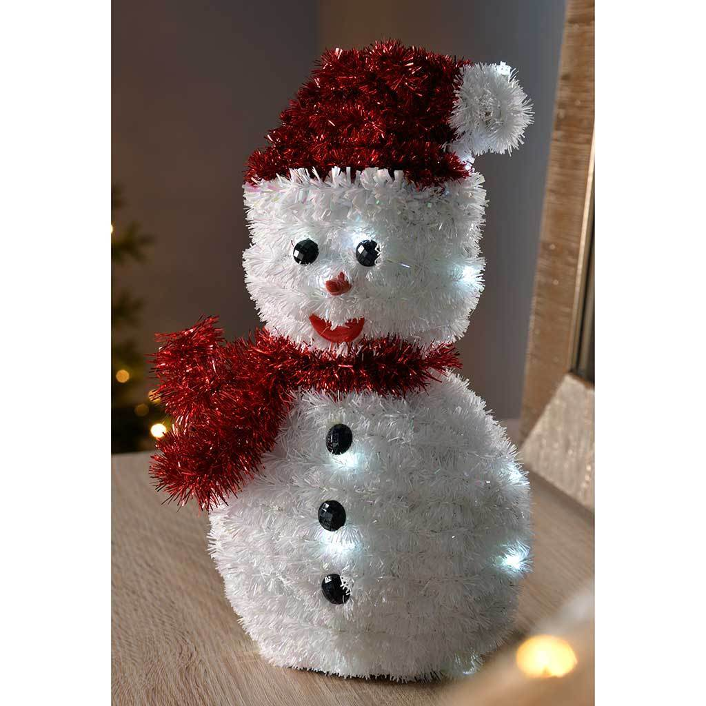 PreLit Tinsel Snowman with 20 Bright LED Lights Christmas Decoration, 28 cm - White