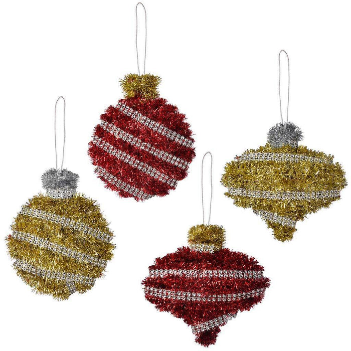 20 cm baubles tinsel wall plaque christmas decoration pack of 4