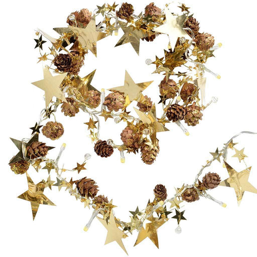 20-LED Lights Star and Pine Cone Garland Christmas Decoration, Warm White - 6 ft