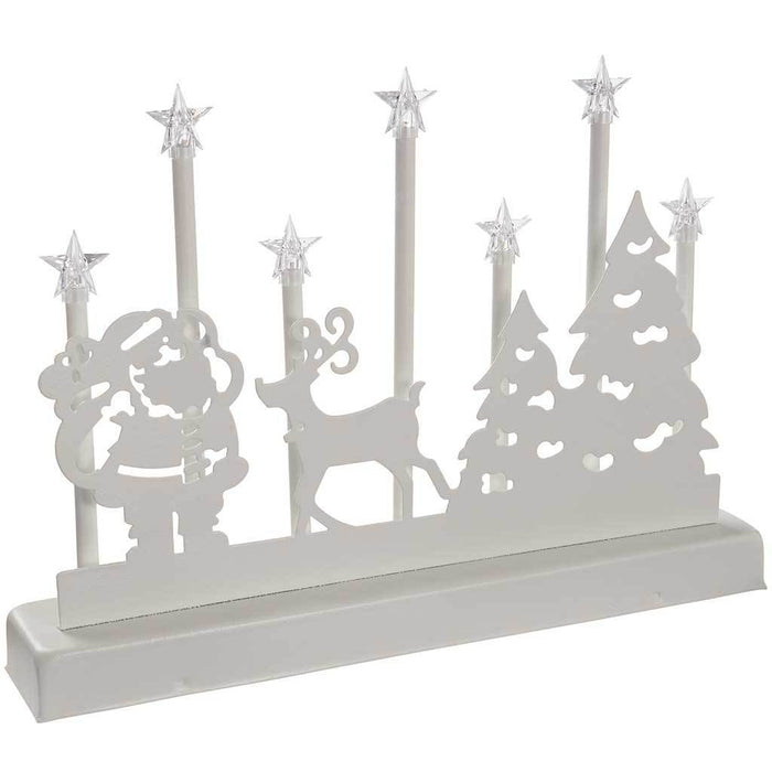 31 cm Santa Reindeer and Tree Candle Bridge Table Light with 7 Warm White LED Lights