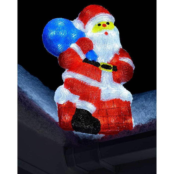 Pre Lit Acrylic Santa with Sack Christmas Decoration with 48 Bright White LED Lights, 60 cm