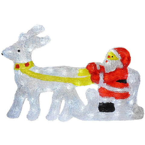 66 cm PreLit Acrylic Reindeer and Santa with Sled Christmas Decoration with 48 Bright White LED Lights