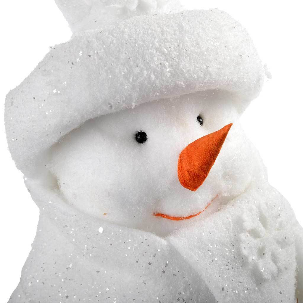 Poly Cotton Sitting Snowman Christmas Decoration- 45 cm, White