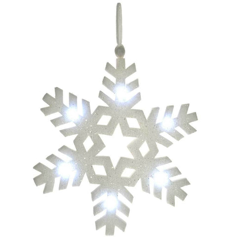 60 cm Pre-Lit Poly Cotton Light Up Snowflake Decoration