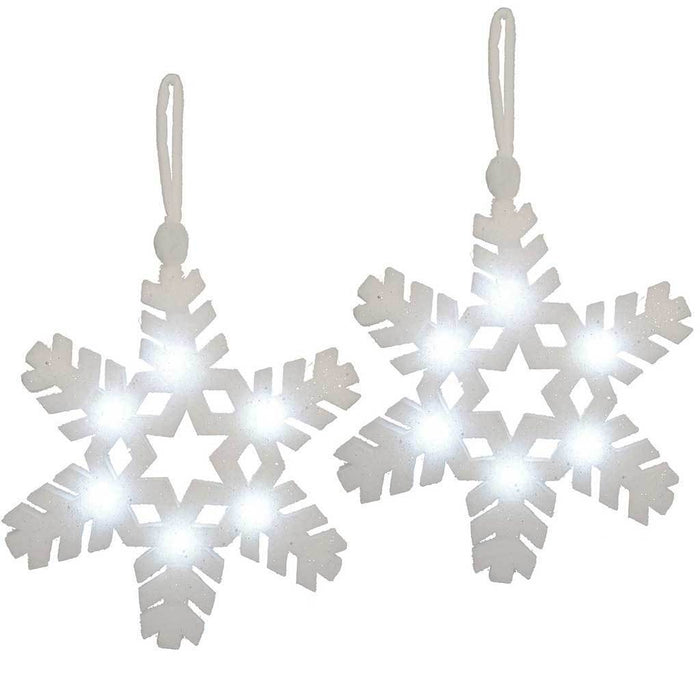42 cm PreLit Poly Cotton Light Up Christmas Snowflake Decoration, Pack of 2
