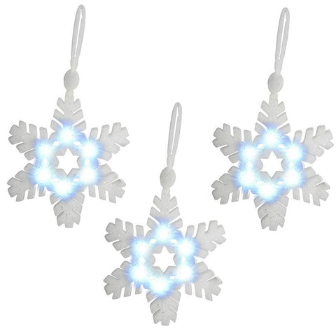 30 cm PreLit Poly Cotton Light Up Snowflake Decoration, Pack of 3