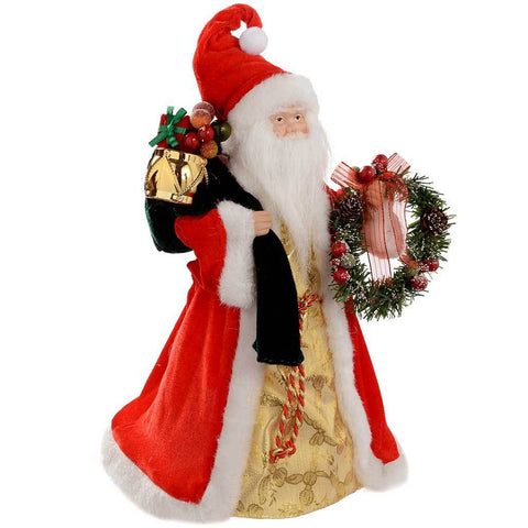40 cm Santa Decoration Christmas Tree Top Topper, Red/ Gold