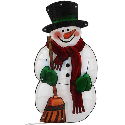 Pre-Lit Snowman Double Sided Window Silhouette Christmas Decoration