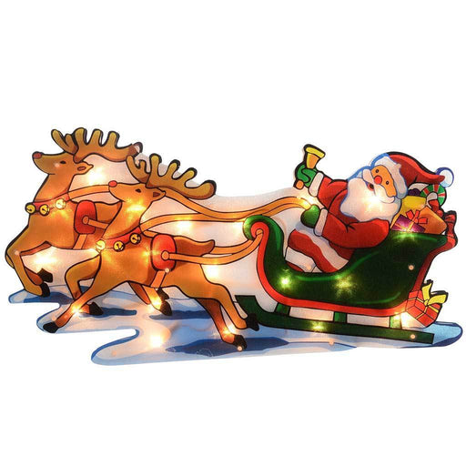 45 cm Pre-Lit Merry Santa Sleigh Reindeer Double Sided Window Silhouette Christmas Decoration