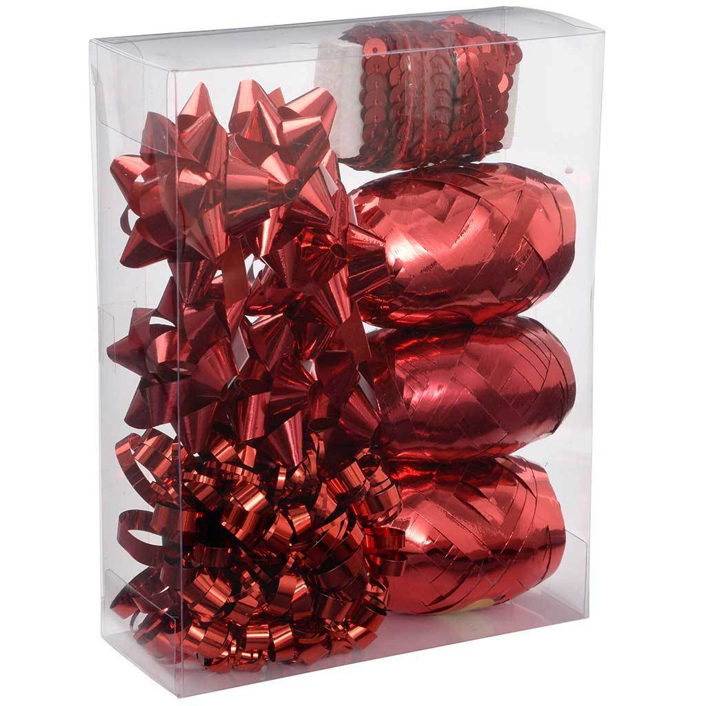 Gift Wrapping Set with Decorative Bows and Ribbons, 11-Piece - Red