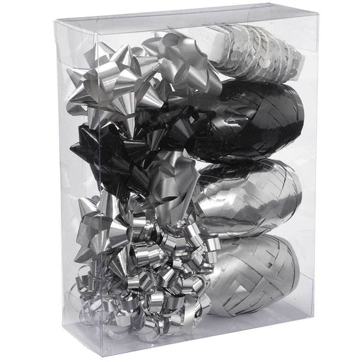 Gift Wrapping Set with Decorative Bows and Ribbons, 11-Piece - Silver/Black