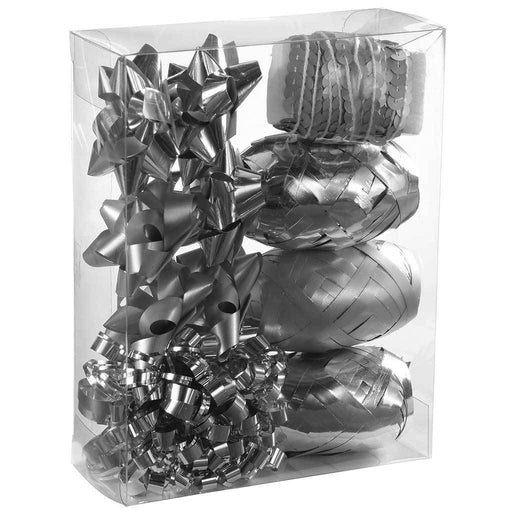 Gift Wrapping Set with Decorative Bows and Ribbons, 11-Piece - Silver