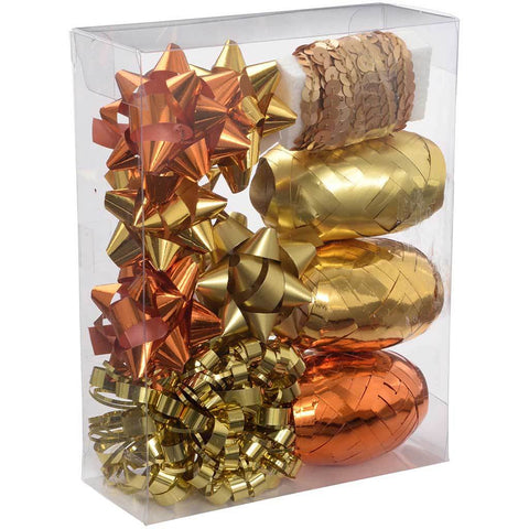 Gift Wrapping Set with Decorative Bows and Ribbons, 11-Piece - Copper/Gold