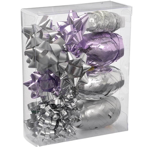 Gift Wrapping Set with Decorative Bows and Ribbons, 11-Piece - Lilac