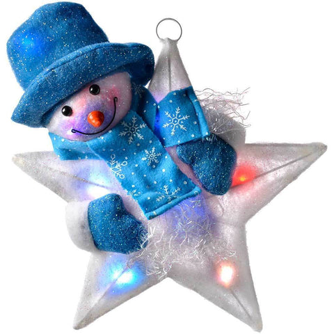 41 cm Large Colour Changing Snowman Star in Blue Illuminated with 8 Flashing LED Lights