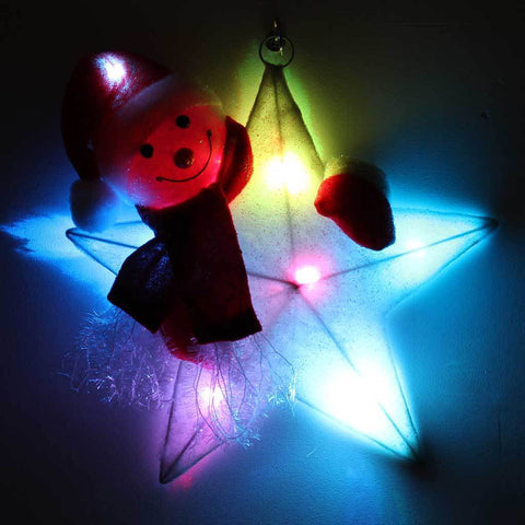 41 cm Large Colour Changing Star Christmas Snowman Decoration, 8 LED Lights, Red