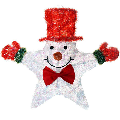 Pre-Lit Snowman Star Christmas Decoration with 20 Warm White Lights, 64 cm - Red & White