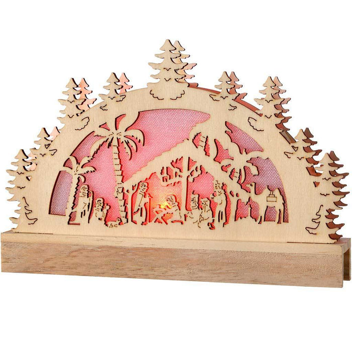 Pre-Lit Wooden Nativity Scene Christmas Decoration Illuminated with Colour Changing LED Lights, 23 cm