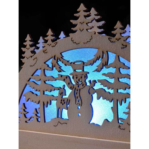 Pre-Lit Wooden Snowman and Reindeer Silhouette with Colour Changing LED Lights, 23 cm