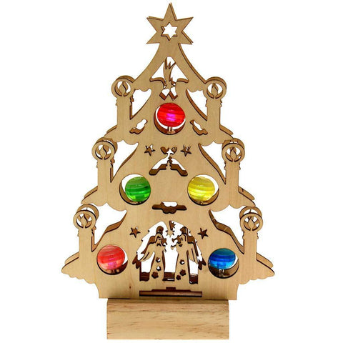 Pre-Lit Wooden Christmas Tree with Coloured LED Baubles Window/Table Decoration, 24 cm