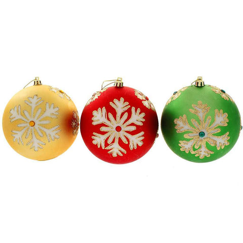 3 x 12cm 3-Large Colour Changing LED Snowflake Christmas Tree Baubles, Red/Green/Gold