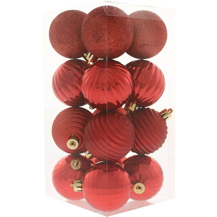 42-Piece Shatterproof Baubles Decoration Pack with Tree Topper & Garland - Red, Red