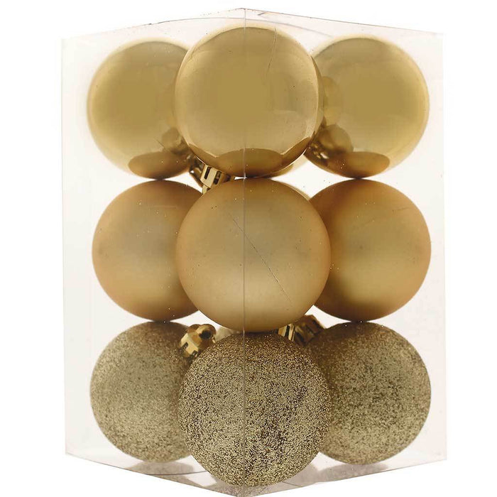 Shatterproof Baubles with Tree Topper and Garland, 42-Piece - Gold
