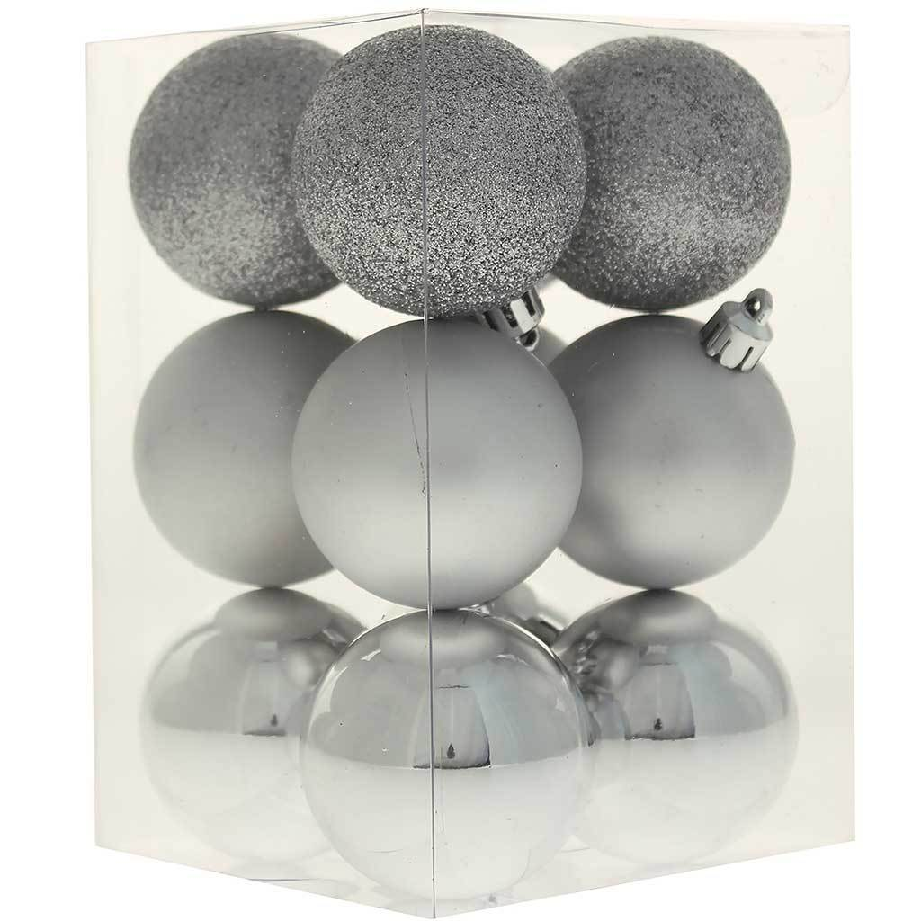 42-Piece Shatterproof Baubles Decoration Pack with Tree Topper & Garland - Silver, Silver