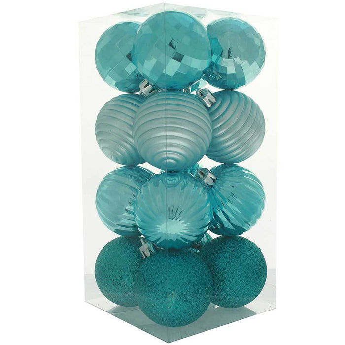 42-Piece Shatterproof Baubles Decoration Pack with Tree Topper & Garland - Turquoise Blue, Blue
