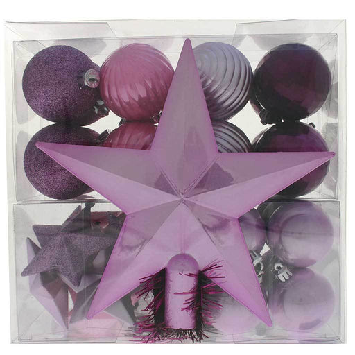 42-Piece Shatterproof Baubles with Tree Topper & Garland, Purple / Pink / Silver
