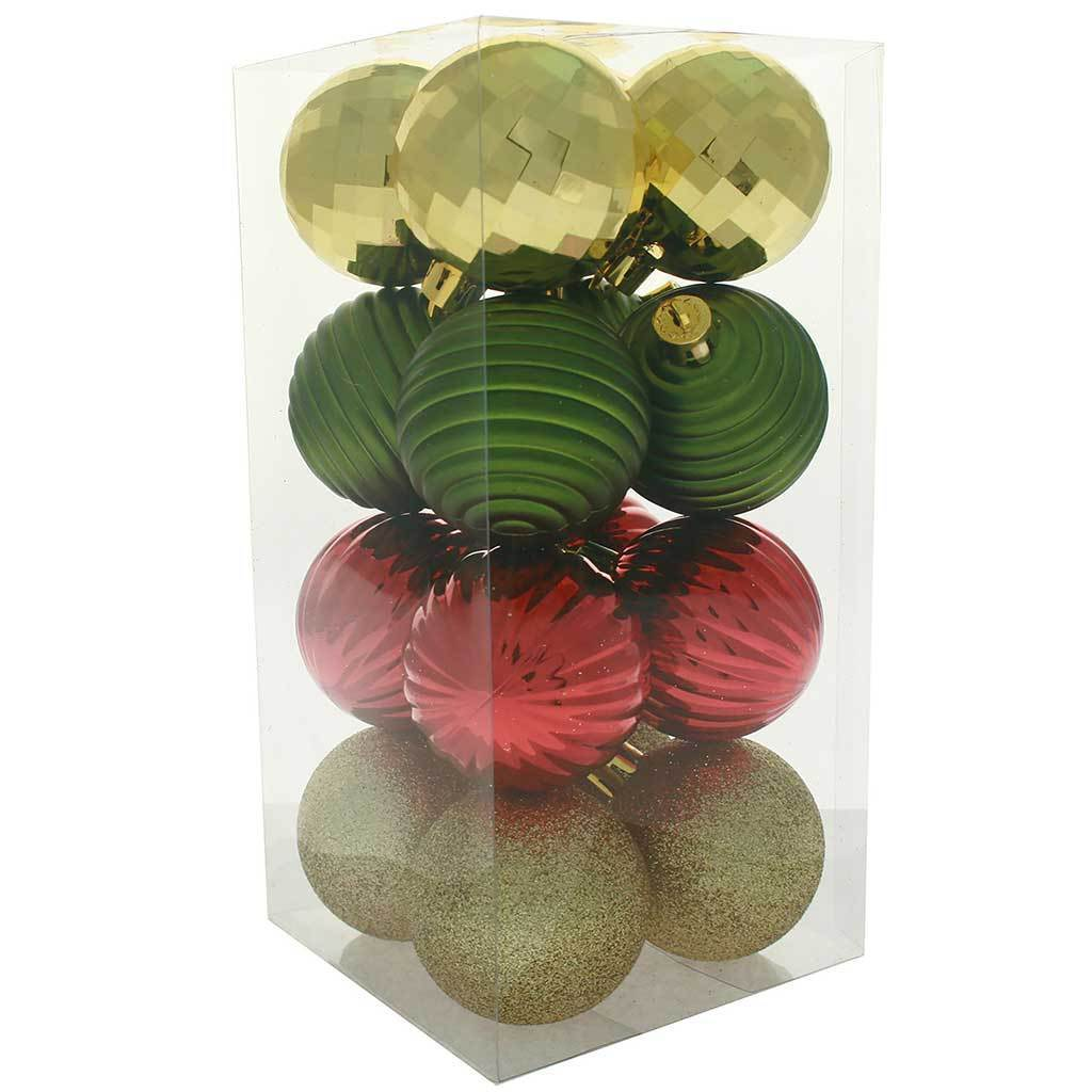 Shatterproof Baubles with Tree Topper and Garland, 42-Piece - Red/Gold/Green