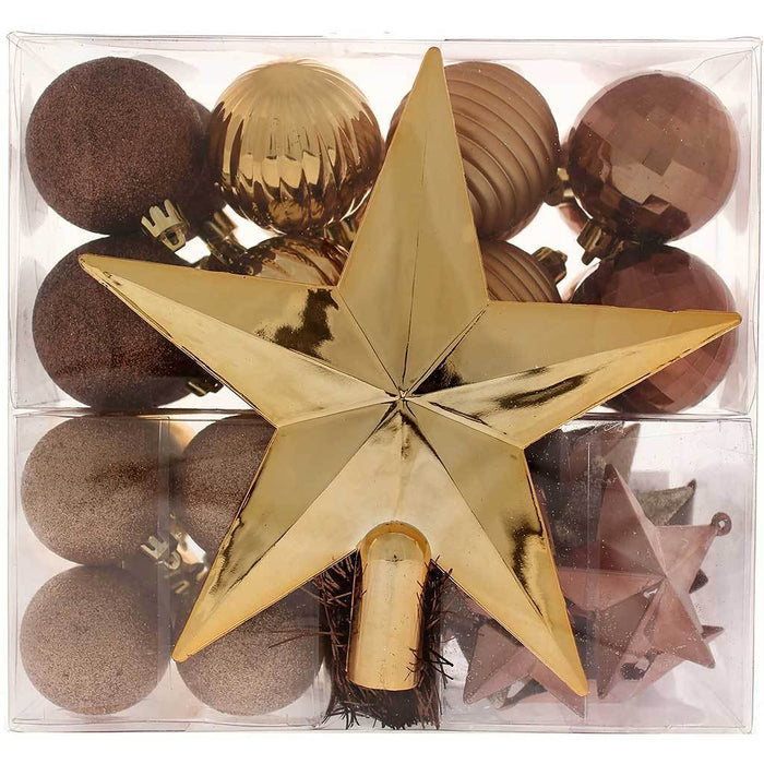 Shatterproof Baubles with Tree Topper and Garland, 42-Piece - Brown/Chocolate/Champagne