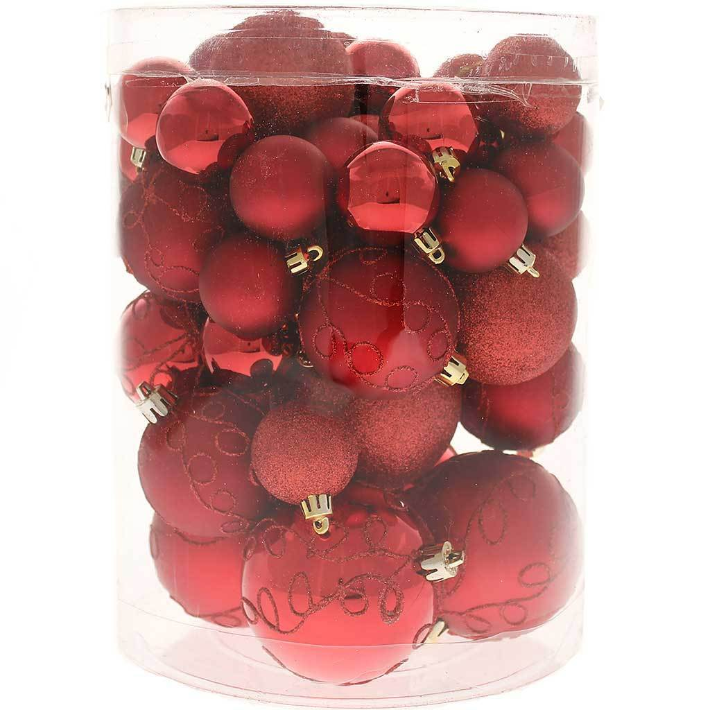 50-Piece Shatterproof Deluxe Christmas Tree Baubles, Red