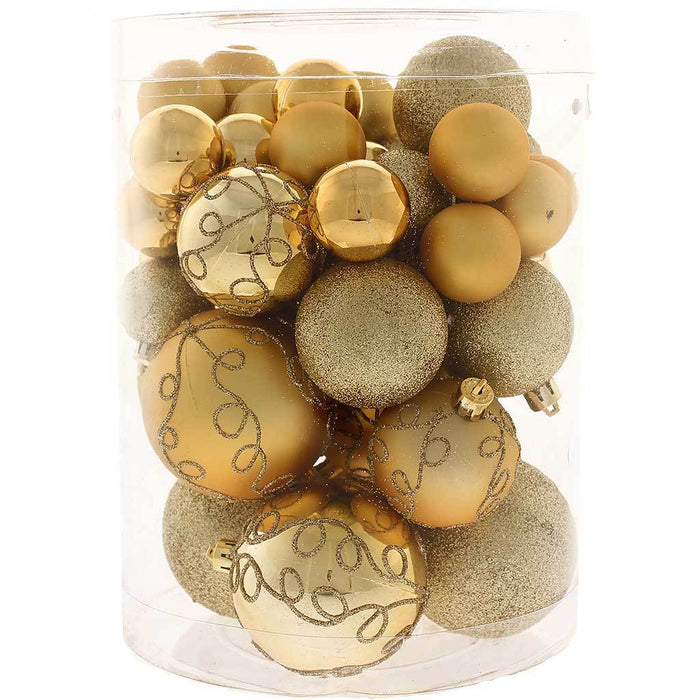 Shatterproof Deluxe Christmas Tree Baubles, 50 Piece - Gold