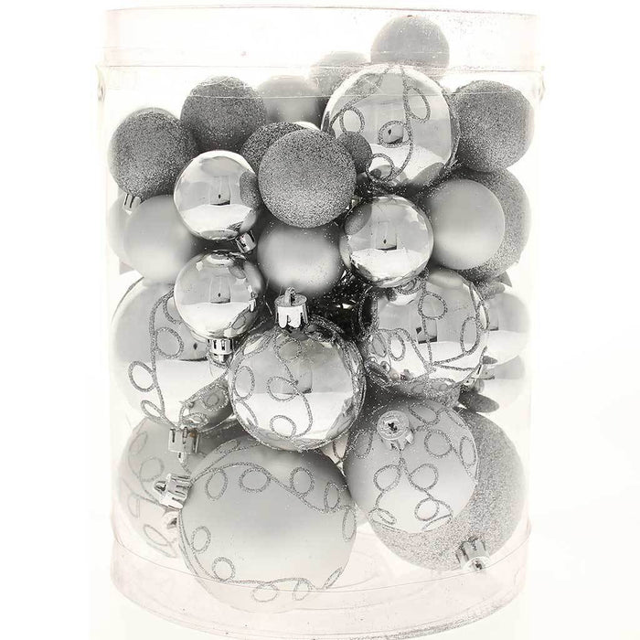 50-Piece Shatterproof Deluxe Christmas Tree Baubles Decoration Pack - Silver, Silver