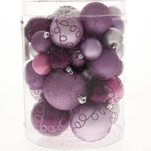 50-Piece Shatterproof Deluxe Christmas Tree Baubles, Purple / Pink / Silver